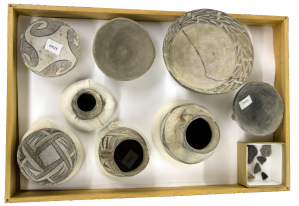 Black-on-white painted ceramic vessels from Chaco Canyon, after cataloging.