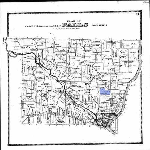 Map of Falls Township in Muskingum County, Ohio, circa 1860. The blue shading indicates Robert S. Peabody's family farm, labeled Spice Knob, just outside of Zanesville.