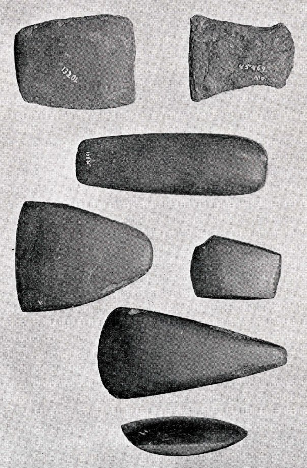 Figure 3 from Warren Moorehead's 1912 study of hematite implements. One of the three objects at the bottom may be Robert Peabody's hematite celt.