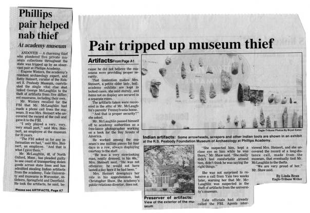 Eagle-Tribune article from 1986 recounts George McLaughlin's theft of artifacts from the Peabody Museum.
