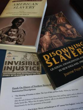 Two books promoted during the program, Understanding and teaching American Slavery by Bethany Jay and Cythia Lyerly and Disowning Slavery by Joanne Pope Melish