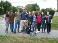 Alex and members of the Archaeology and History Club