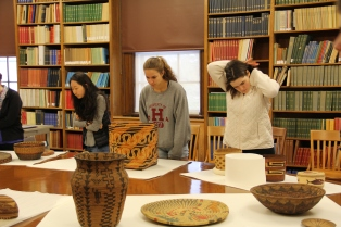 Students investigating the coloring and construction of some of the baskets