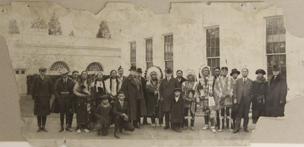 Group photo of American Indians and Euro-Americans at the White House, January 1922