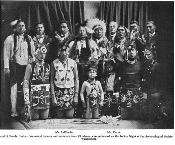 Image of Ponca dancers at the Archaeological Society of Washington's January 1922 powwow.