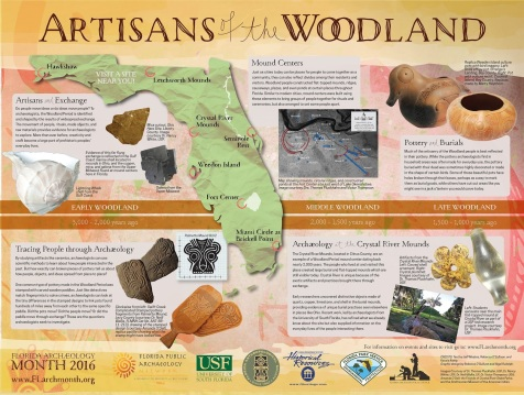 Image of Florida's 2016 Archaeology Month poster titled Artisans of the woodland