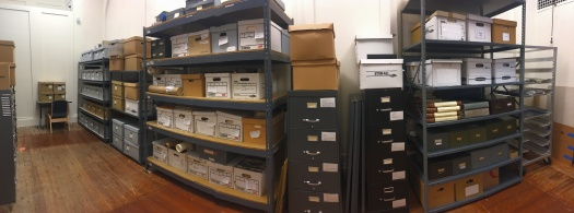 Panorama of one side of the rearranged archives storages area.