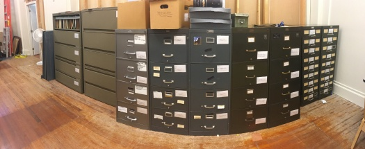 Panorama of the east wall of the rearranged storage area.