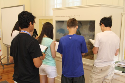 Image of students looking at the Pawtucket diorama