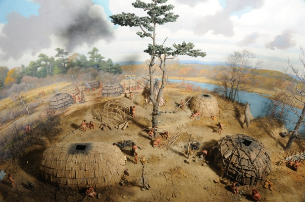 Image of the Peabody's Pawtucket village diorama circa 500 years ago.