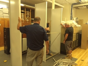Shelving installation in progress