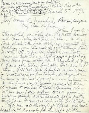 Excerpt of a letter from Robert S. Peabody to Warren K. Moorehead in March 1898