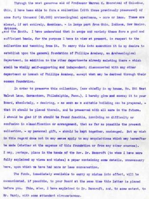 Excerpt of Robert S. Peabody's letter to the Trustees of Phillips Academy in March of 1901