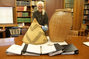 Catherine Hunter with some of the Peabody's baskets