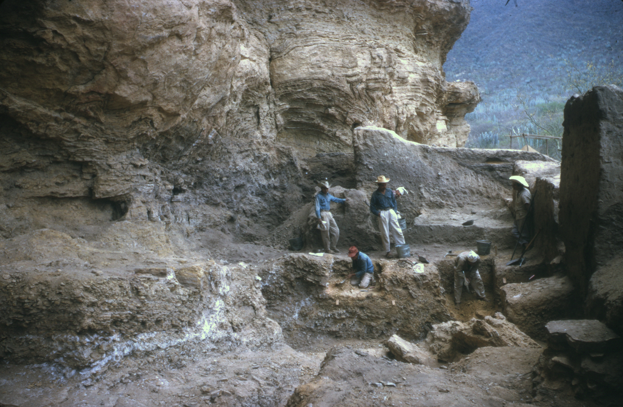 Image of excavators working in Coxcatlan Cave, Tehuacan Valley, Mexico, 1960s.
