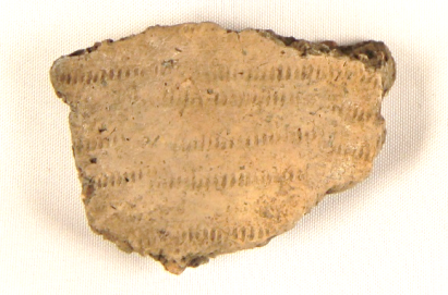 Close-up of one of the incised pottery fragments