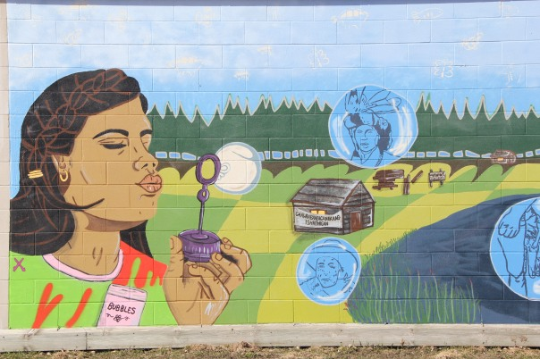 Image of mural on the Niiji radio building, White Earth Reservation, taken March 2016.