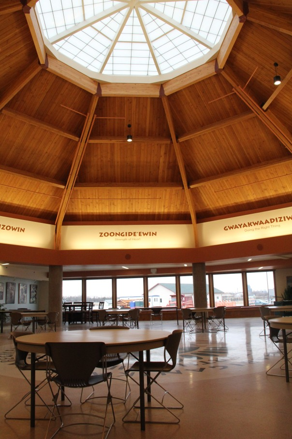 Image of the drum hall at the White Earth tribal college, taken March 2016.