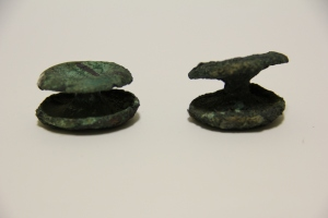 photograph of two copper ear spools