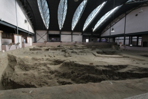 Image of interior, Banpo excavation hall, with features like the moat and postholes from structures.