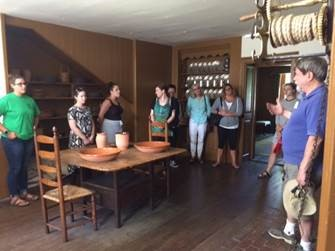 Students on a tour of the Royall House and Slave Quarters museum