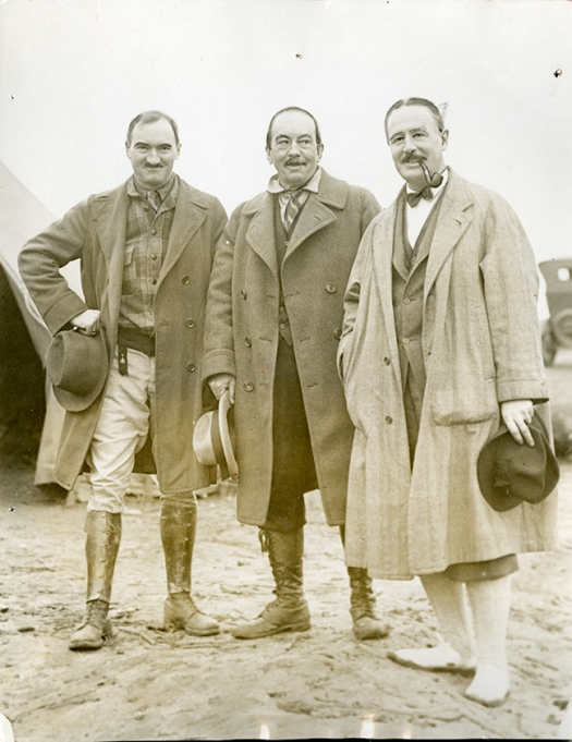 Image of archaeologists Neil M. Judd, Warren Moorehead, and Alfred Vincent Kidder at the Etowah site near Cartersville, Georgia, March 1927.