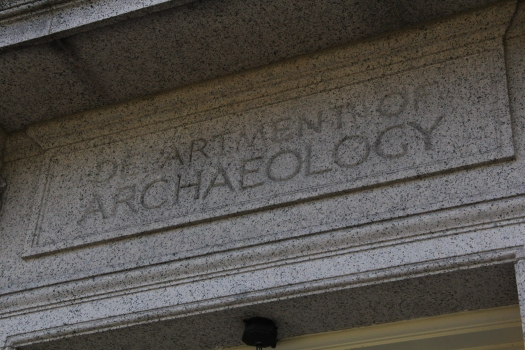 Department of Archaeology engraved on entablature over door of Peabody building.
