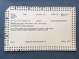Radiocarbon Dates Association, Inc., punch card
