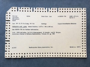 Radiocarbon Dates Association, Inc., punch card