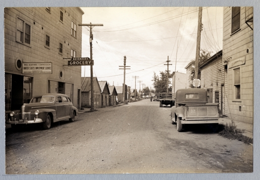 L-28-28. Fairbanks, Alaska. Snapshots of Chena Slough, streets and houses. 7/30/44