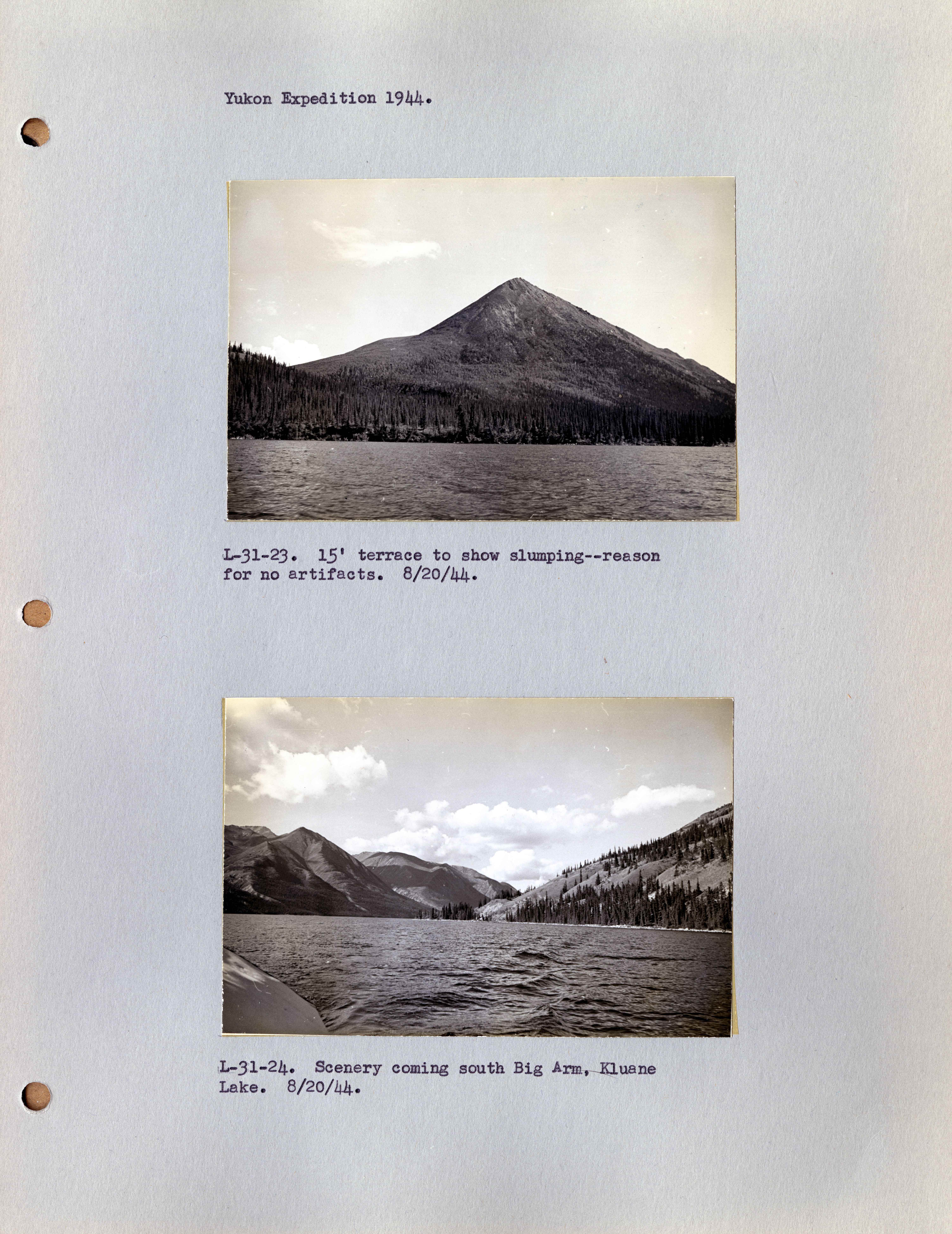 Example of an Andover-Harvard Yukon Expedition photographs page, with images from 1944.