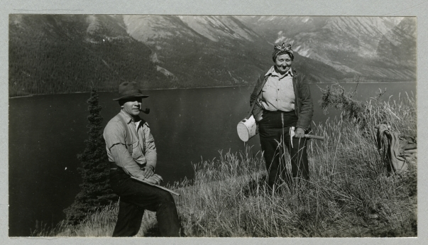 Lucy and Hugh Raup on the southeast slope of Big Arm, Kluane Lake, Andover-Harvard Yukon Expedition 1944. Photograph by J.H.H. Sticht.