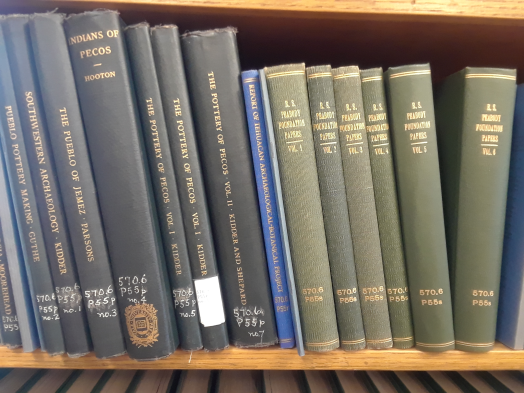 Image of Peabody books on a shelf.