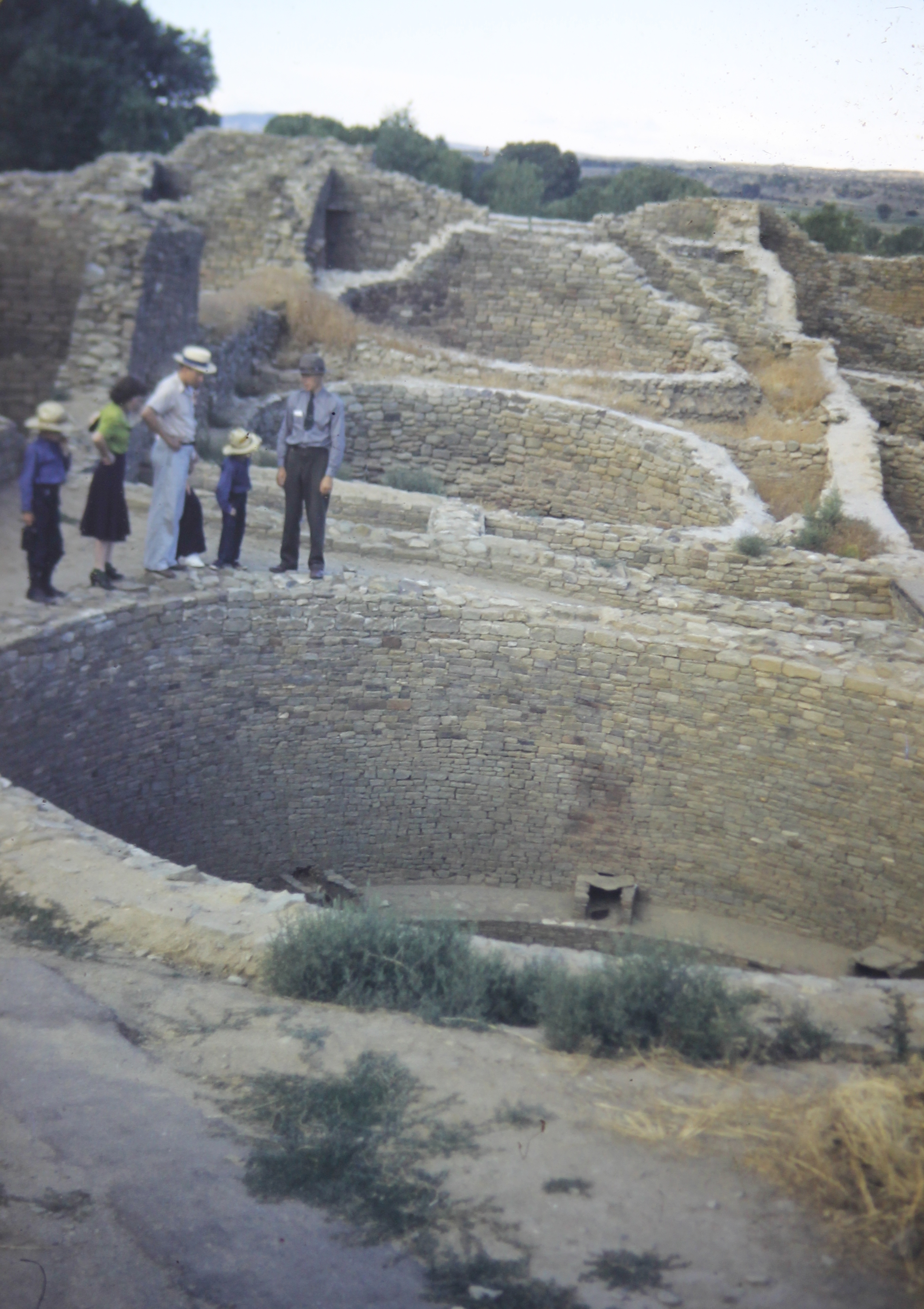 Adelaide and Ripley Bullen and their sons, visiting Aztec ruins in New Mexico, 1941