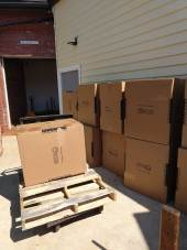 Boxes unloaded at the storage unit
