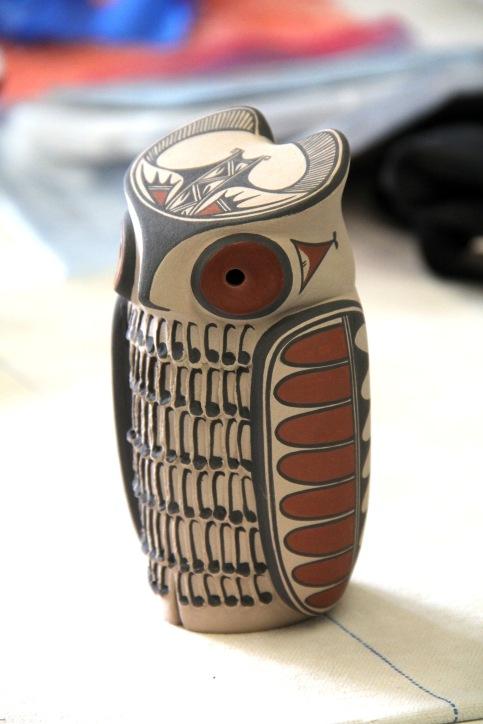 Maxine Toya's hand painted owl figurine.