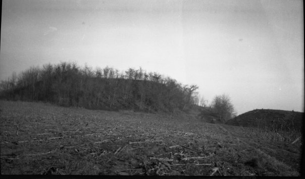 Black and white image of mounds at Etowah site, circa 1925-1926.