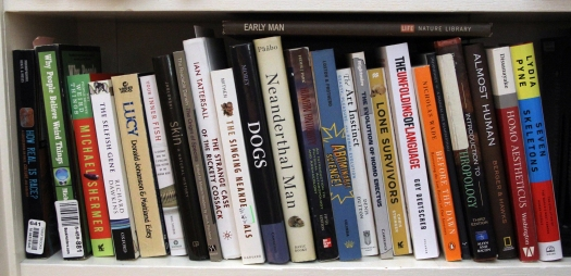 Image of books used in Human Origins course.
