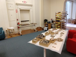 Sherds spread around the room