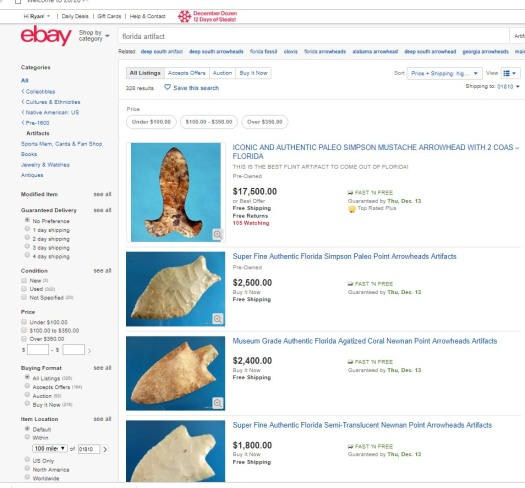 Image of artifacts for sale on the web.