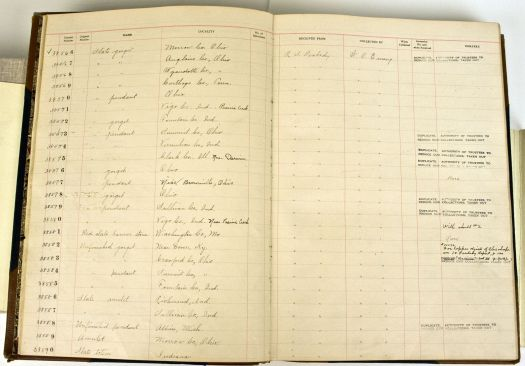 example accession ledger page