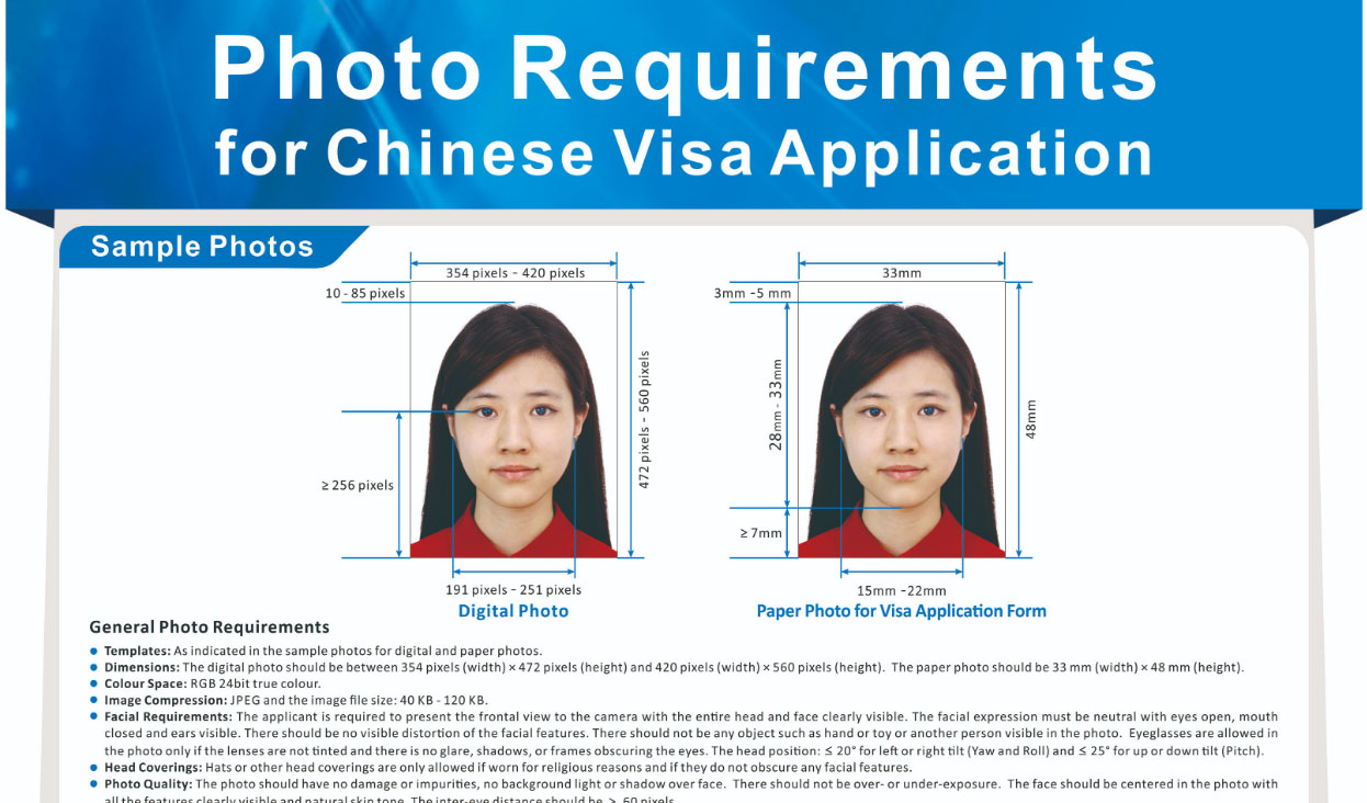 Image of Chinese visa photo requirements.