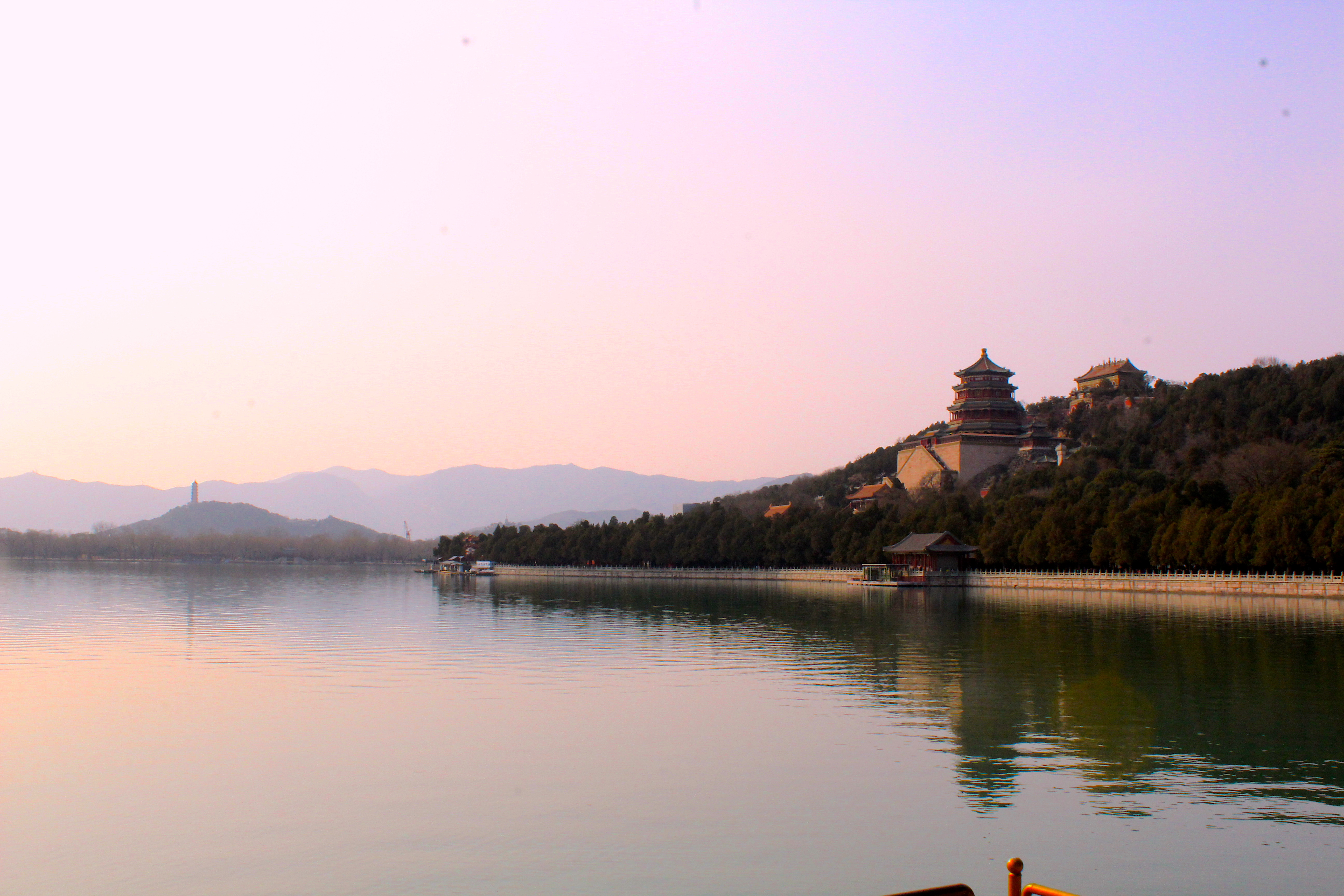 Image of Summer Palace buildings on lake, with reflections.