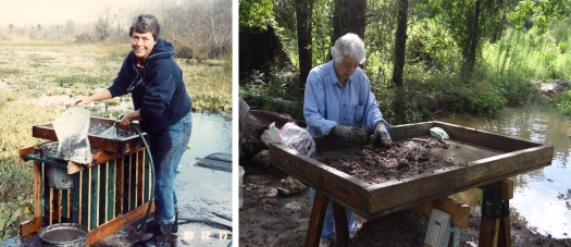 Two images of archaeologist Barbara Purdy: Barbara Purdy during excavations at Hontoon Island, 1980 (left) and revisiting the Container Corporation of America site in Marion County, Florida, in 2017.