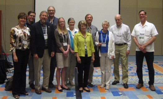 Image of presenters at the 2016 Society for American Archaeology symposium The Archaeology, Art, and Iconography of Florida's Watery Landscapes with Barbara A. Purdy. From left: Joanna Ostapkowicz, Dan Seinfeld, Bill Marquardt, Michael Faught, Julia Duggins, Karen Jo Walker, Phyllis Kolianos, Steven Koski, Barbara Purdy, Jim Knight, and Ryan Wheeler.