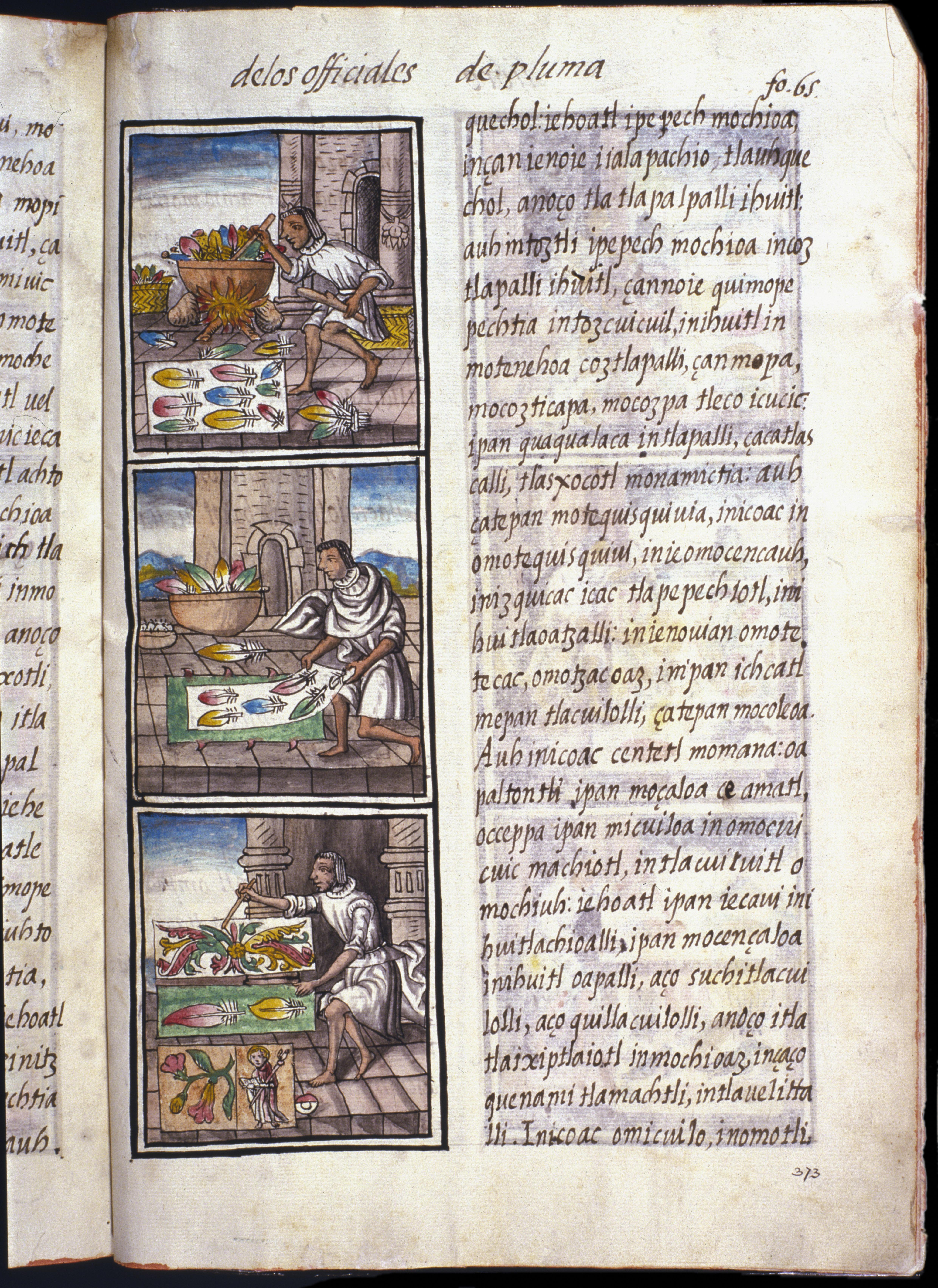 Image of a page from an illuminated manuscript showing three scenes of Aztex featherwork in the left hand column.