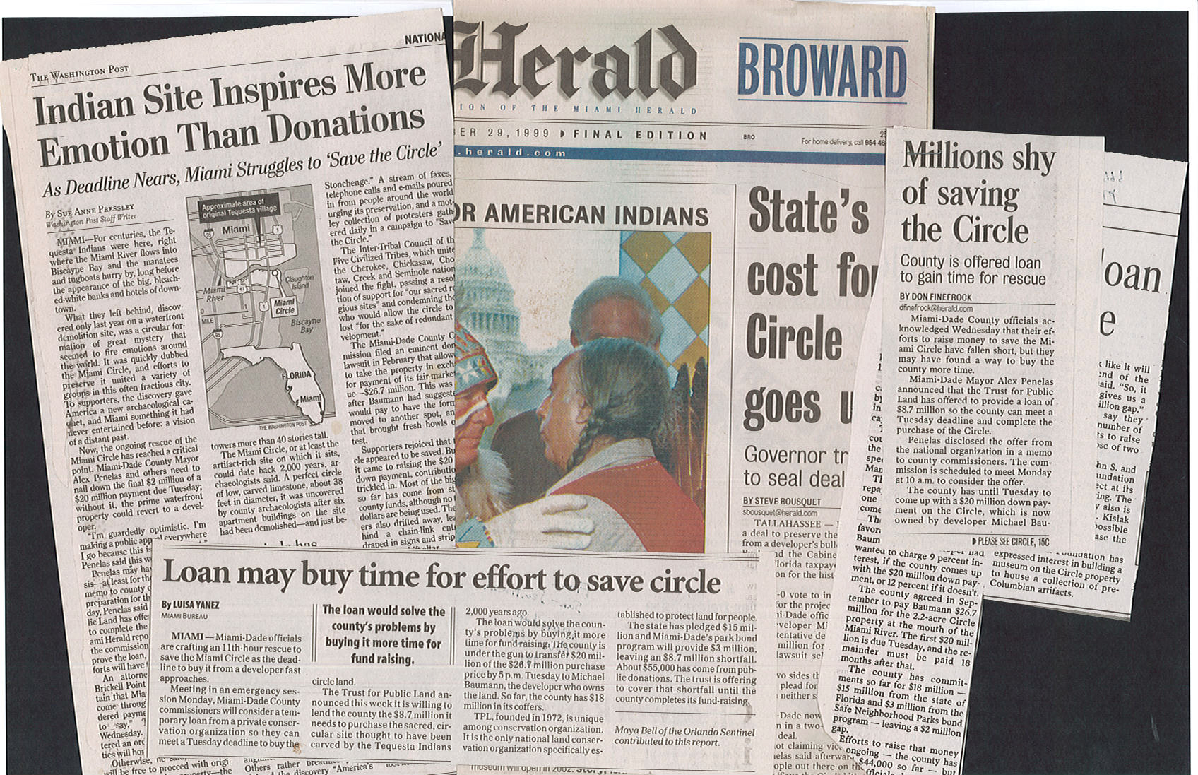 Image of newspaper articles spread out about the Miami Circle site.